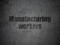 Concept de Manufacuring : Travailleurs de fabrication sur le fond grunge de mur illustration de vecteur