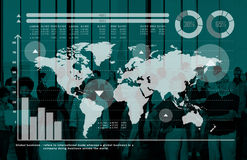 Concept de marché boursier de finances de croissance de graphique de gestion globale Photos stock