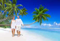 Concept de marche d'amour de datation de plage de couples Photo libre de droits