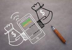 Concept de marketing en ligne avec le dessin sur le fond gris jpg Image libre de droits