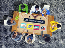 Concept de marquage à chaud de la publicité de commerce de stratégie de marketing en ligne Photos libres de droits