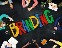 Concept de marquage à chaud de marque déposée de stratégie de nom du marché Images libres de droits