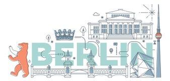 Concept de marquage à chaud de technologie de ` de Berlin de ` de mot de typographie illustration de vecteur