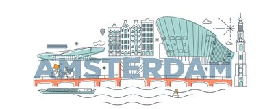 Concept de marquage à chaud de technologie de ` d'Amsterdam de ` de mot de typographie illustration stock