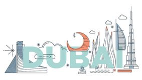 Concept de marquage à chaud de technologie de ` de Dubaï de ` de mot de typographie Image libre de droits