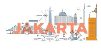 Concept de marquage à chaud de technologie de ` de Jakarta de ` de mot de typographie Images stock
