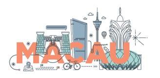 Concept de marquage à chaud de technologie de ` de Macao de ` de mot de typographie Photos libres de droits