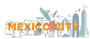 Concept de marquage à chaud de technologie de ` de Mexico de ` de mot de typographie illustration de vecteur