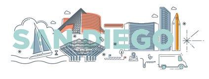 Concept de marquage à chaud de technologie de ` de San Diego de ` de mot de typographie Images stock