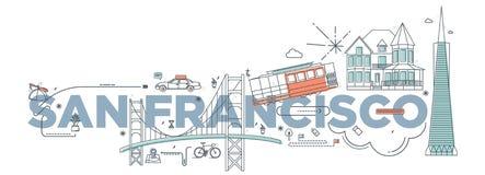 Concept de marquage à chaud de technologie de ` de San Francisco de ` de mot de typographie Image libre de droits