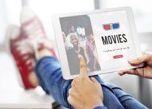concept de media de divertissement d'icône en verre 3D Photo libre de droits
