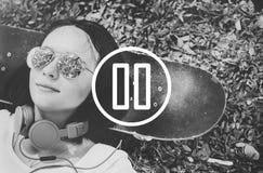 Concept de media de musique de film de joueur de pause photographie stock libre de droits