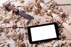 Concept de menuiserie Vue supérieure de lieu de travail de charpentier de menuisier Outils de construction sur la table en bois a Image libre de droits