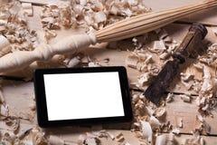 Concept de menuiserie Vue supérieure de lieu de travail de charpentier de menuisier Outils de construction sur la table en bois a Photographie stock
