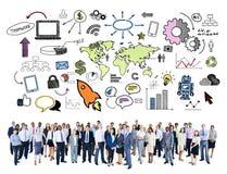 Concept de message publicitaire du marché d'organisation mondiale d'affaires globales illustration de vecteur