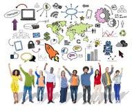Concept de message publicitaire du marché d'organisation mondiale d'affaires globales Images libres de droits