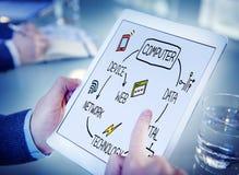 Concept de mise en réseau de connexion de télécommunications mondiales d'ordinateur Photographie stock