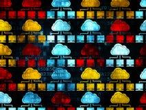 Concept de mise en réseau de nuage : Icônes de réseau de nuage dessus Image stock
