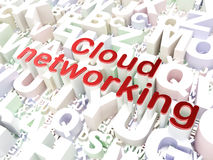Concept de mise en réseau de nuage : Mise en réseau de nuage sur le fond d'alphabet Photographie stock libre de droits