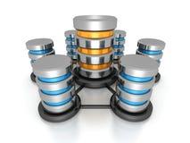 Concept de mise en réseau de base de données Filet d'icônes de disque dur en métal Photo stock