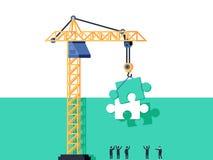 Concept de mission d'achèvement L'homme d'affaires se tenant avec le dos régissent la grue tenant le puzzle et mettant dans le pu illustration stock