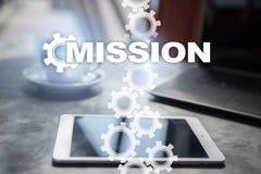 Concept de mission sur l'écran virtuel Concept d'affaires Image libre de droits