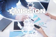 Concept de mission sur l'écran virtuel Concept d'affaires Images libres de droits