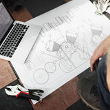 Concept de modèle d'ébauche de programme-cadre de construction images libres de droits
