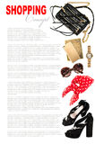 Concept de mode avec des accessoires de dame d'affaires Achats féminins Images stock