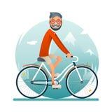 Concept de mode de vie de voyage de hippie de connaisseur prévoyant un vélo Forest Background Flat d'homme de symbole de voyage d Illustration Libre de Droits