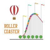 Concept de montagnes russes avec le ballon à air chaud Images stock