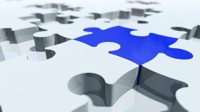 Concept de morceaux de puzzle dans les particules rendu 3d Photos stock