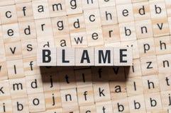 Concept de mot de blâme image libre de droits