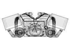 Concept de moteur de voiture - architecte Blueprint - d'isolement illustration libre de droits