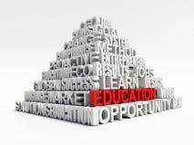 Concept de mots-clés de Word d'éducation en pyramide blanche illustration stock