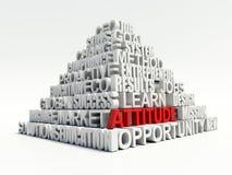 Concept de mots-clés de Word d'attitude en pyramide blanche illustration libre de droits