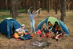 Concept de musique de guitare de forêt d'amis de dîner de pique-nique Images stock