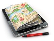 Concept de navigation de GPS Carte de guide sur l'écran de PC de comprimé Photo stock