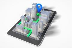 Concept de navigation de ville avec le téléphone portable avec les bâtiments 3D et la PA Illustration Stock