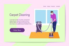 Concept de nettoyage de tapis d'amélioration de l'habitat L'homme nettoie le tapis avec l'équipement professionnel Calibre de pag illustration de vecteur