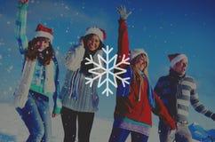 Concept de Noël de tempête de neige de flocon de neige d'hiver de neige Image libre de droits