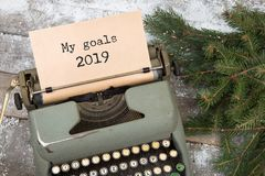 Concept de Noël - machine à écrire avec le texte image stock