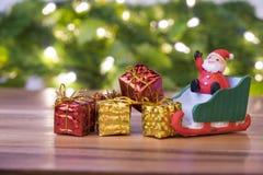 Concept de Noël, traîneau de Santa de jouet, Photographie stock