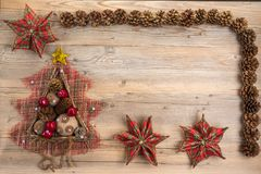 Concept de Noël de vintage avec l'espace pour le texte Image libre de droits