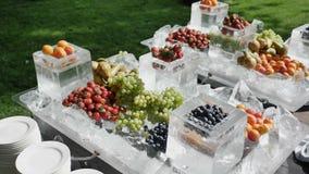 Concept de nourriture biologique avec le régime de haute qualité de fibre de verre avec le fruit Nourritures hautes en anthocyani banque de vidéos