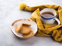 Concept de nourriture de confort d'hiver avec le thé Images libres de droits