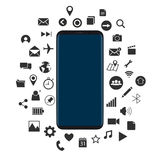 Concept de nouveau Smartphone avec le vecteur noir d'icônes illustration libre de droits