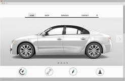 Concept de nouveau venu de page d'accueil de voiture de la publicité de site Web Images stock