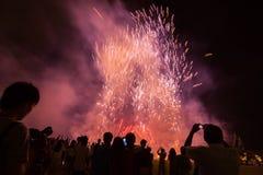 Concept de nouvelle année - foule et feux d'artifice encourageants Images stock