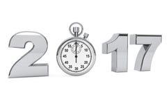 Concept 2017 de nouvelle année signe de l'acier 2017 avec le chronomètre 3d rendent illustration libre de droits